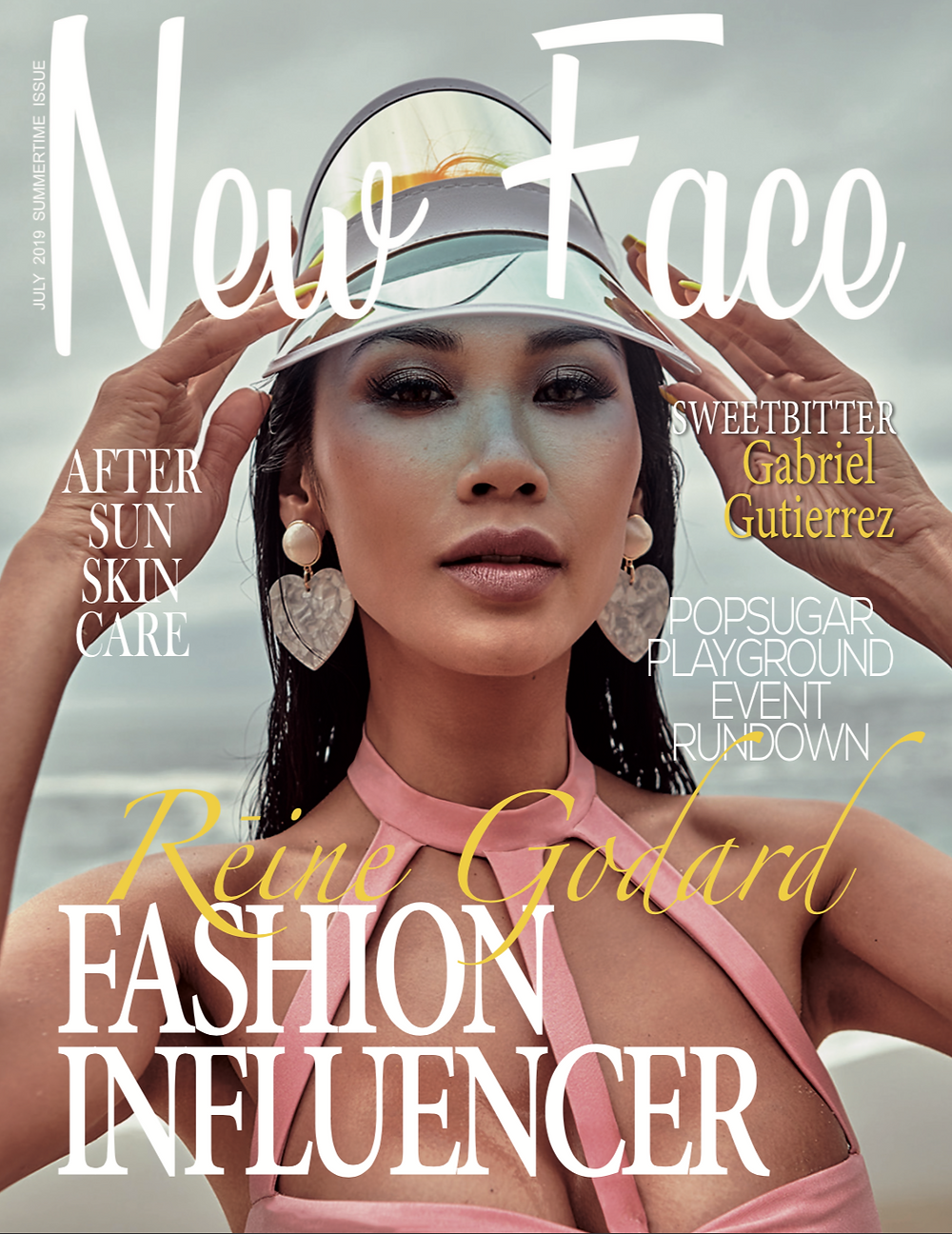 Claire Reine Godard on the cover of the July issue of New Face Magazine in a translucent visor and strappy pink bikini top.
