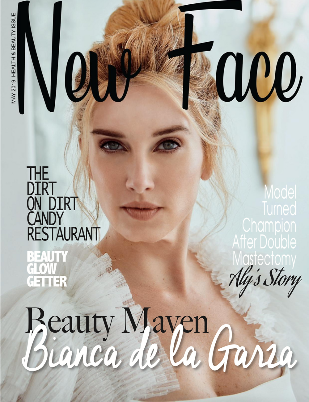 Bianca de la Garza on the cover of New Face Magzine May 2019 by L.A. photographer Patrick Patton Photography.  Bianca is modelling in a pretty white dress for her new beauty products line in GLO we trust