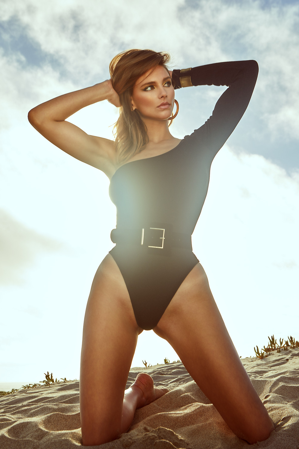 Black bikini one-piece swimsuit on swimwear model Lea from Aston Models, photographed by Patrick Patton.