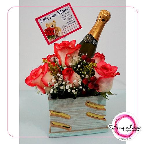 Rosas y Champaña en Caja peq.