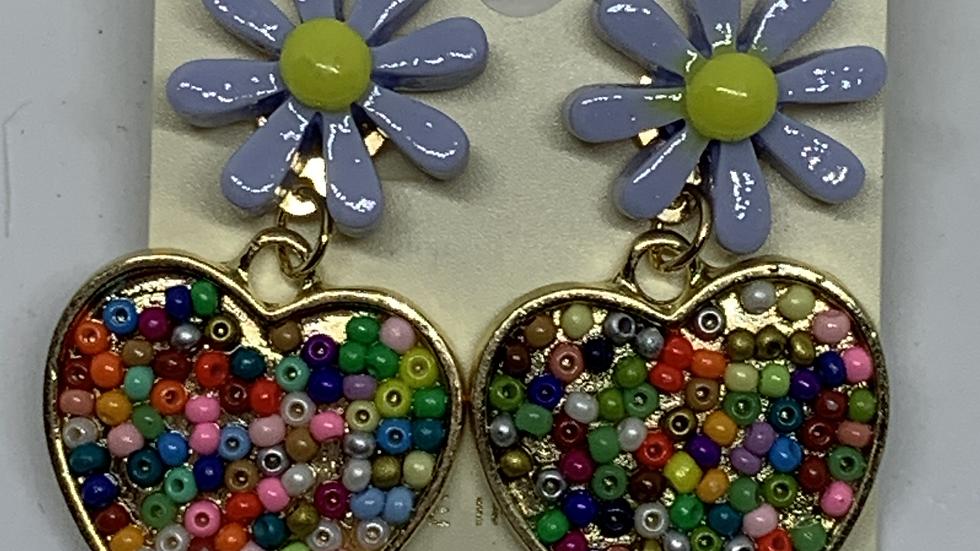 Lilac Daisy- Beaded heart posts