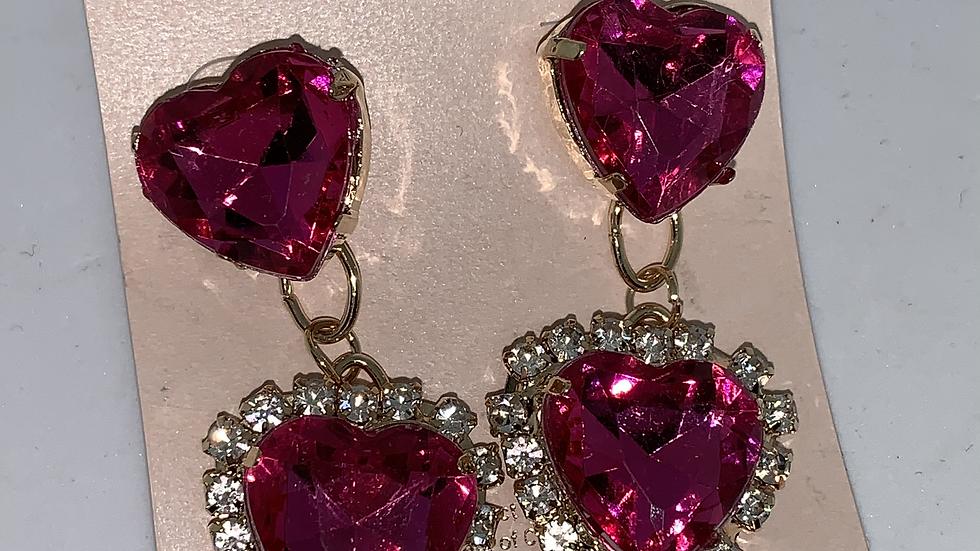 Heart Studs- Pink/Gold
