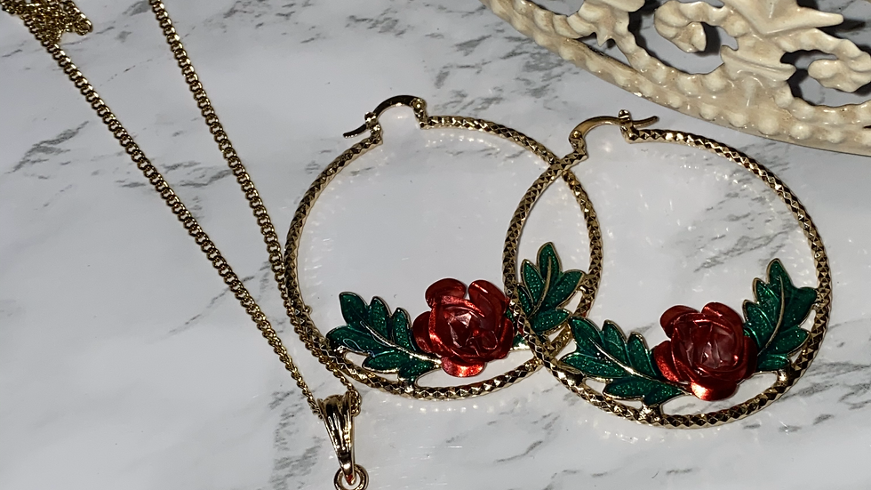 "Gold Filled ""Beauty"" Hoop & necklace set"