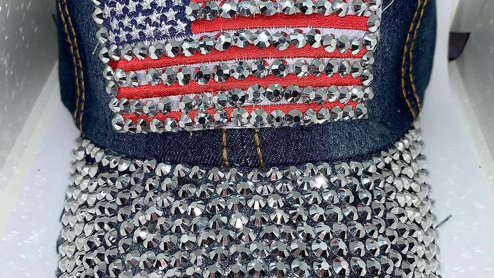 United States flag bling baseball cap