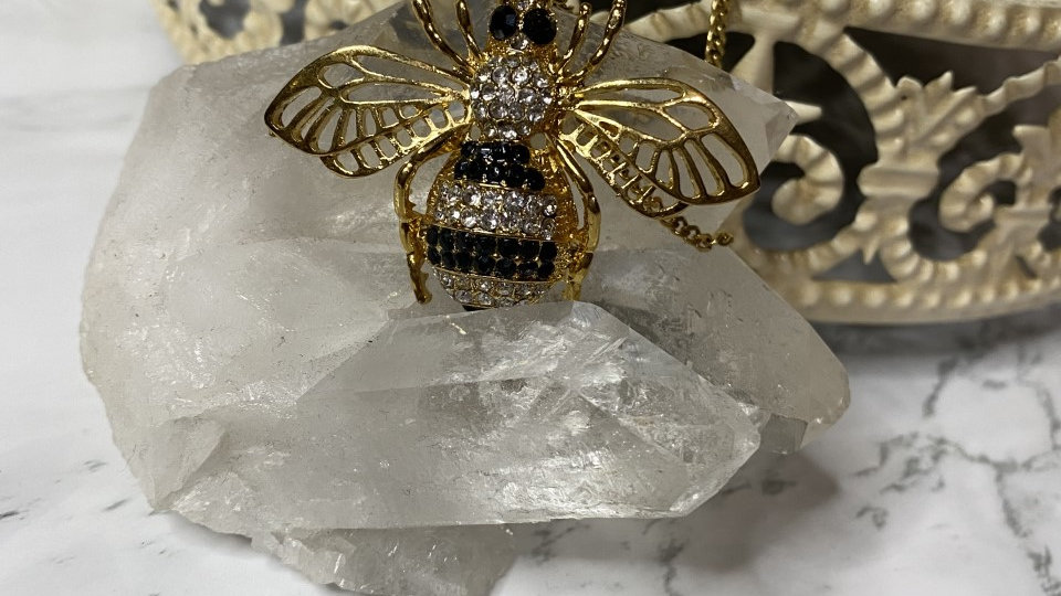 Gold Filled Clear & black Queen Bee necklace