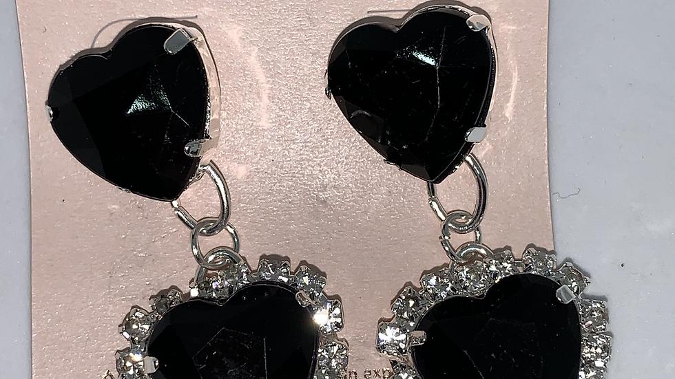 Heart Studs- Black/Silver