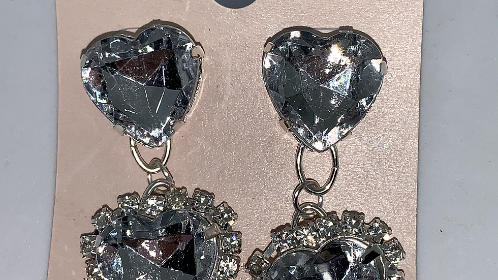 Heart Studs- Clear/Silver