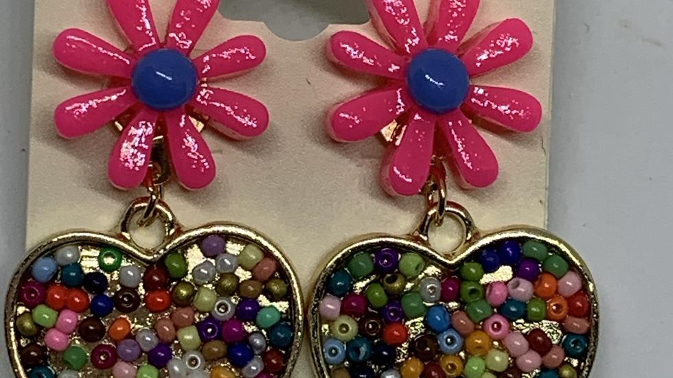 Dark Pink Daisy- Beaded heart posts