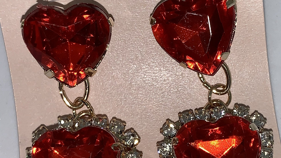 Heart Studs- Red/Silver