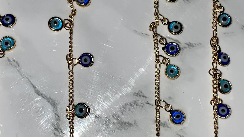 Gold Filled Evil Eye Bracelet or Anklet