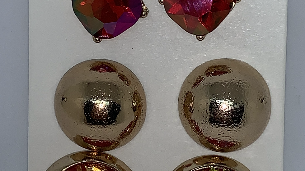 Red & gold multi pack bling studs