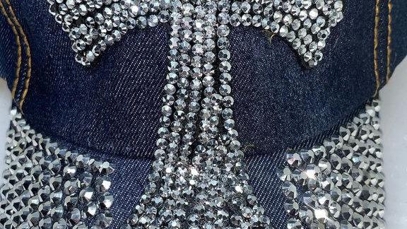 Silver cross bling baseball cap