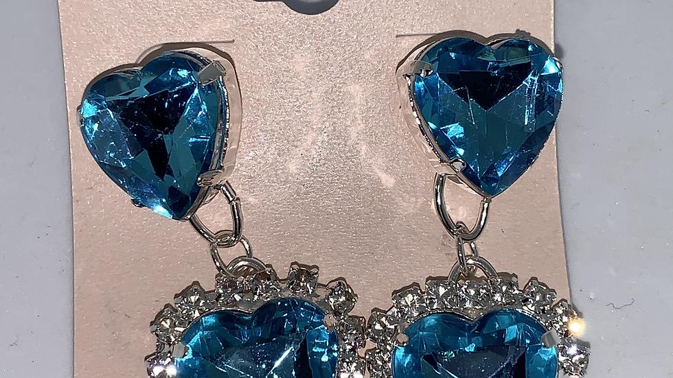 Heart Studs- Blue/Silver