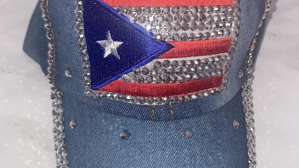 Puerto Rico Flag bling hat