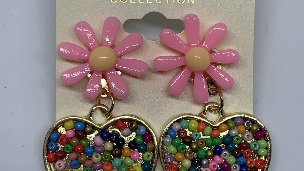 Pink Daisy- Beaded heart posts