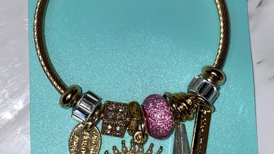 P*andora style Pink Evil- eye bracelet