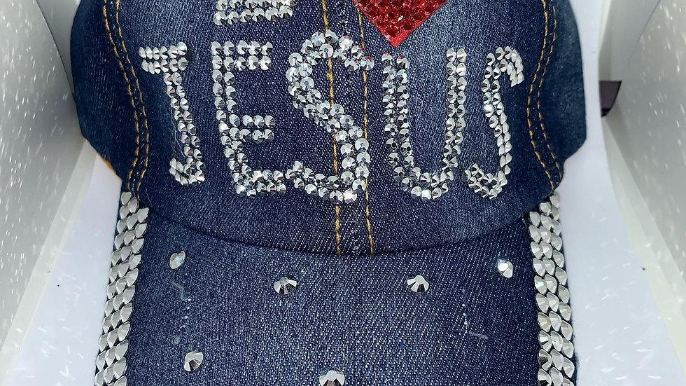 """""""I Love Jesus"""" bling baseball cap"""