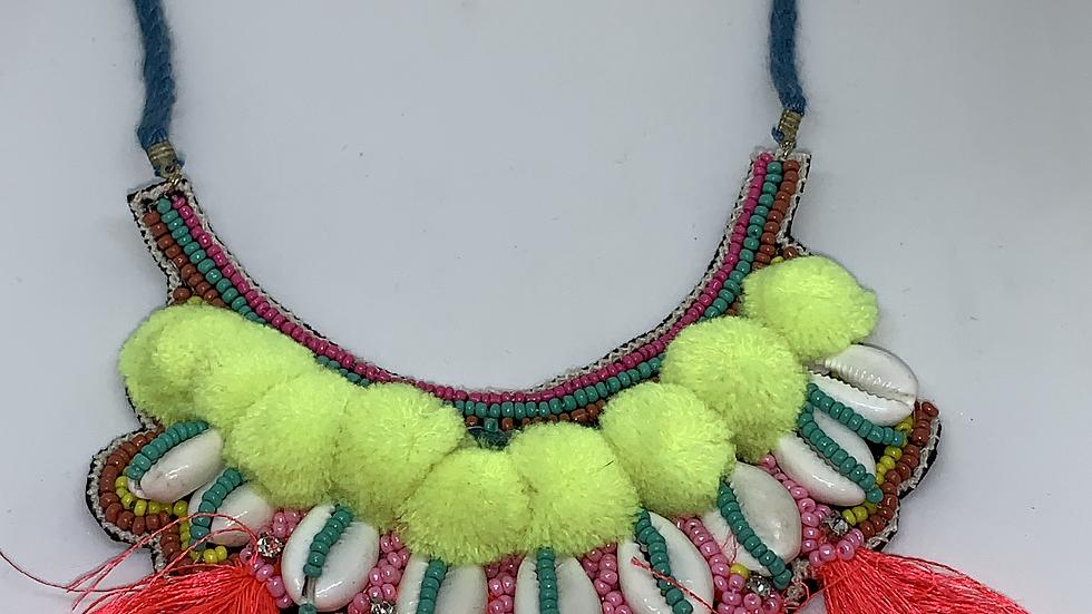 Neon Boho Beaded Statement Shell & Fringe Necklace