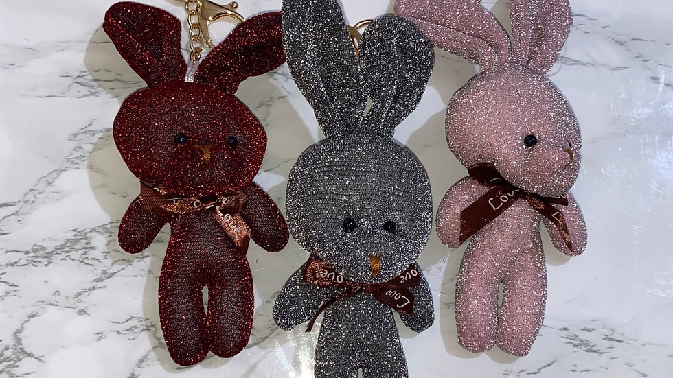 Glitter Plush bunny keychain/purse charm