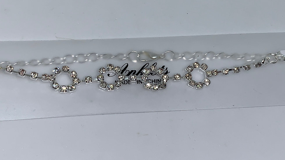 """Silver """"round"""" bling anklet"""
