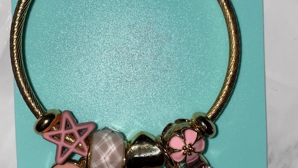P*andora style Pink Bow Bracelet