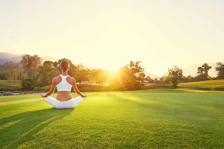 Yoga at park with view of the mountains,
