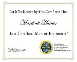 Certified Master Home Inspector Certificate