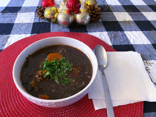 Polish Christmas Dried Mushroom Soup with no cream and poured noddles