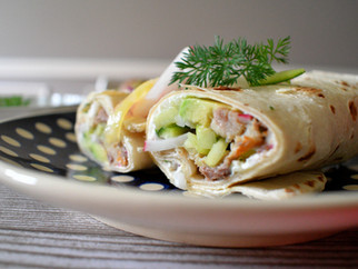 Wraps with smoked mackerel & horseradish sauce - picnic time!