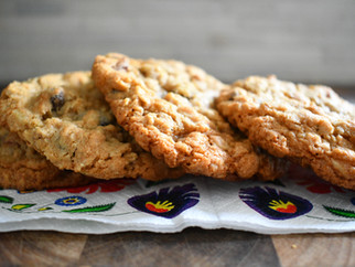 Oatmeal cookies with raisins and nuts