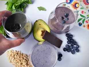 Three Vegan Purple Breakfast Smoothies