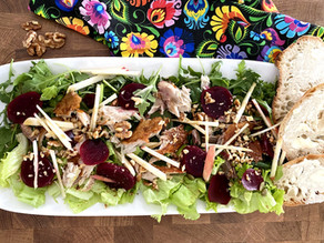 Mackerel salad with pickled beets and walnuts - Polish flavored Spring salad