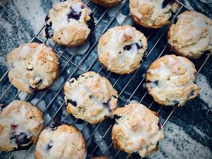 Blueberry & lemon muffins, with lemon glaze - baking with my children