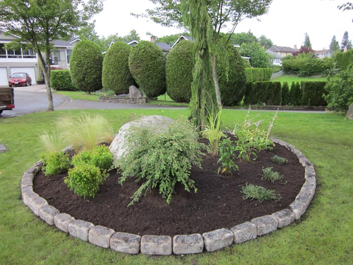 Island Planting with Natural Stone Edging