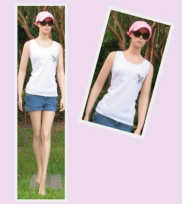 Em's Place Womens tank top (White,Pink)