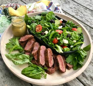 Harmonia Health Greek Salad and Marinated Lamb Back Straps from Belmore Biodynamic Meats