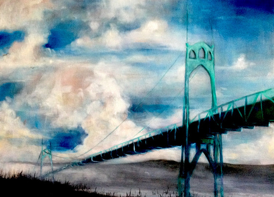 St Johns Bridge with Blue Sky and Clouds
