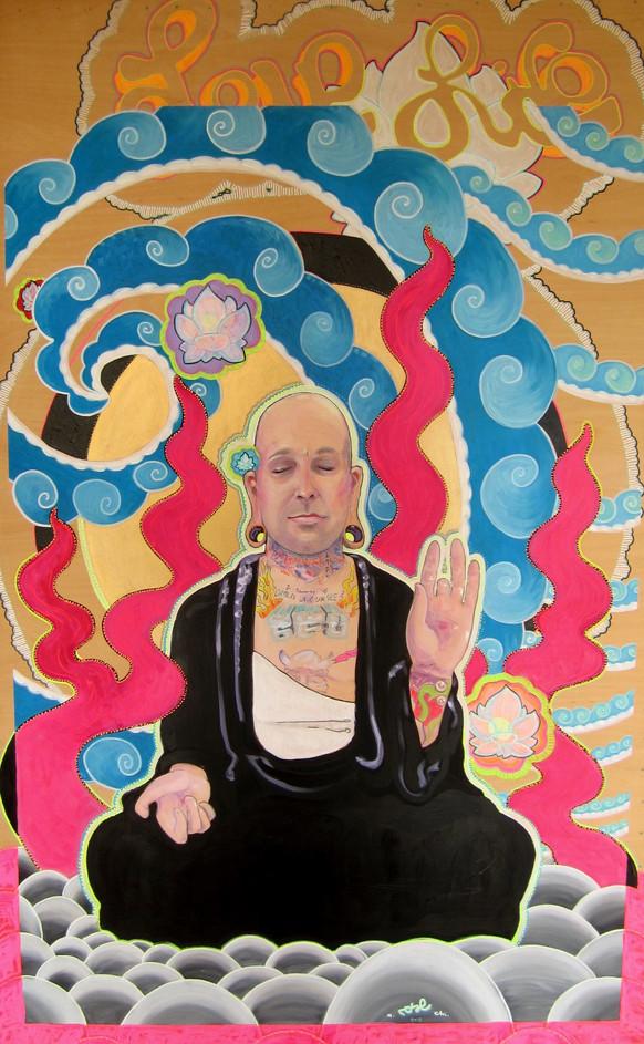 Portrait of the Artist, Jason Tait as Subject of His 'Robot Buddah' Painting