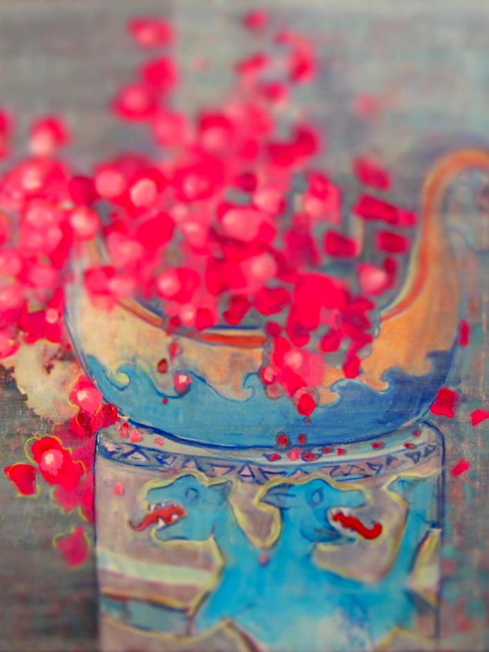 Pink Flowers in Three Headed Dog Vase