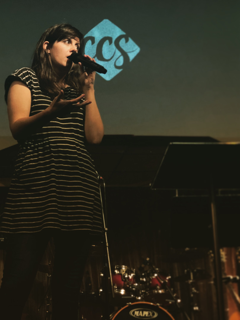 Louise preaching in Wales.