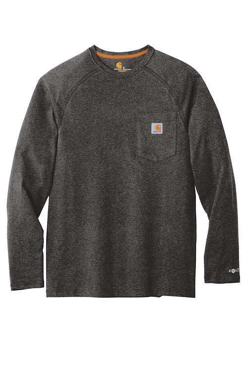 Carhartt Force Delmont Pocket Tee Carbon Heather Long Sleeve M