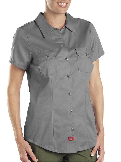 Dickies Women's Industrial Work Shirt Dark Charcoal Short Sleeve XL