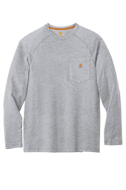 Carhartt Force Delmont Pocket Tee Heathered Grey Long Sleeve L
