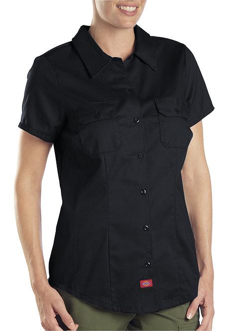 Dickies Women's Industrial Work Shirt Black Short Sleeve M