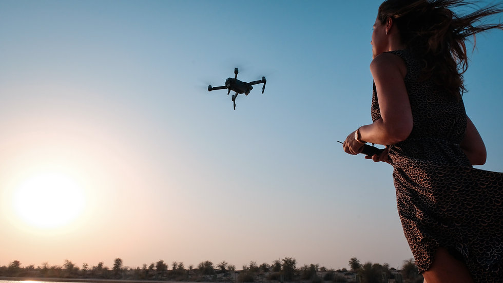 Girl flying drone in the sky.