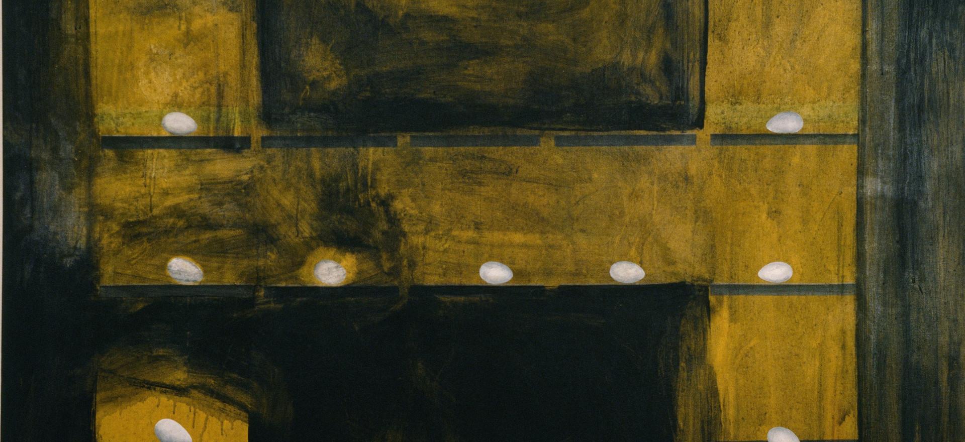 """""""Huevos"""", 1990, Acrylic on canvas, 178 x 174 cm."""