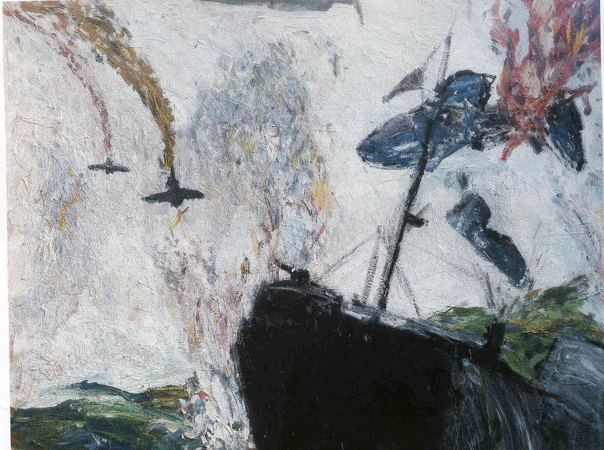 """""""Guerra de Malvinas"""", 1983, acrylic on wood, 120 x 120 cm."""