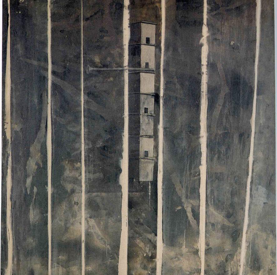 """Paisaje con casas"", 1991, acrylic on canvas, 145 x 134 cm."