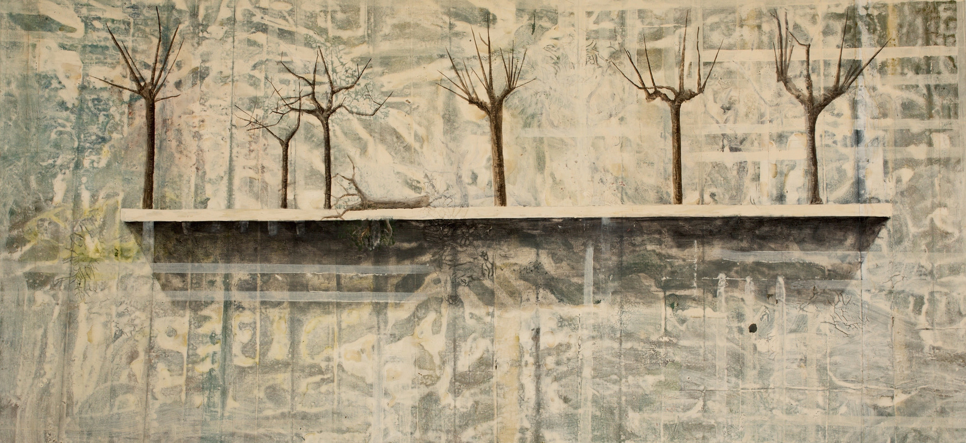 """Repisa con árboles"", 1991, Acrylic on canvas, 150 x 209 cm"