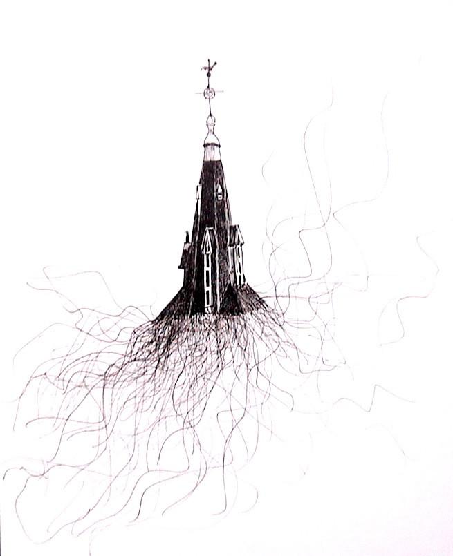 Eglise Jeanne d'Arc, Paris, 2001, encre sur papier